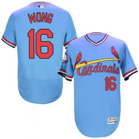 Wholesale Cheap Cardinals #16 Kolten Wong Light Blue Flexbase Authentic Collection Cooperstown Stitched MLB Jersey