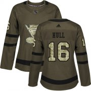 Wholesale Cheap Adidas Blues #16 Brett Hull Green Salute to Service Women's Stitched NHL Jersey