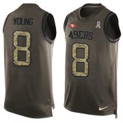 Wholesale Cheap Nike 49ers #8 Steve Young Green Men's Stitched NFL Limited Salute To Service Tank Top Jersey