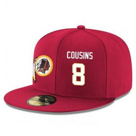 Wholesale Cheap Washington Redskins #8 Kirk Cousins Snapback Cap NFL Player Red with White Number Stitched Hat