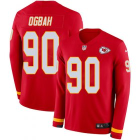 Wholesale Cheap Nike Chiefs #90 Emmanuel Ogbah Red Team Color Men\'s Stitched NFL Limited Therma Long Sleeve Jersey