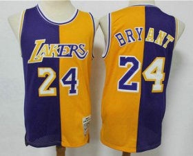 Wholesale Cheap Men\'s Los Angeles Lakers #24 Kobe Bryant Purple Yellow Split Hardwood Classics Jersey