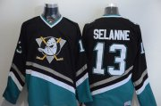 Wholesale Cheap Ducks #13 Teemu Selanne Black CCM Throwback Stitched NHL Jersey