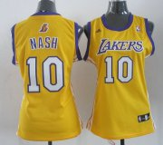Wholesale Cheap Los Angeles Lakers #10 Steve Nash Yellow Womens Jersey