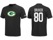 Wholesale Cheap Nike Green Bay Packers #80 Donald Driver Name & Number NFL T-Shirt Black