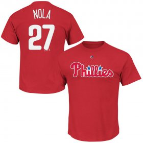 Wholesale Cheap Philadelphia Phillies #27 Aaron Nola Majestic Official Name and Number T-Shirt Red