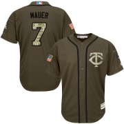 Wholesale Cheap Twins #7 Joe Mauer Green Salute to Service Stitched Youth MLB Jersey