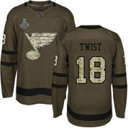 Wholesale Cheap Adidas Blues #18 Tony Twist Green Salute to Service Stanley Cup Champions Stitched NHL Jersey