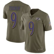 Wholesale Cheap Nike Ravens #9 Justin Tucker Olive Youth Stitched NFL Limited 2017 Salute to Service Jersey