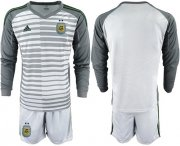 Wholesale Cheap Argentina Blank Grey Long Sleeves Goalkeeper Soccer Country Jersey
