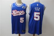 Wholesale Cheap Kings 5 De'Aaron Fox Blue Nike Swingman Jersey