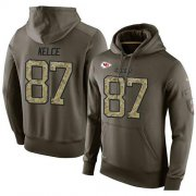 Wholesale Cheap NFL Men's Nike Kansas City Chiefs #87 Travis Kelce Stitched Green Olive Salute To Service KO Performance Hoodie