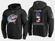 Wholesale Cheap Blue Jackets #9 Artemi Panarin NHL Banner Wave Usa Flag Black Hoodie