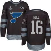 Wholesale Cheap Adidas Blues #16 Brett Hull Black 1917-2017 100th Anniversary Stanley Cup Champions Stitched NHL Jersey
