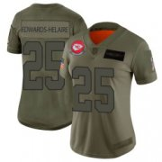 Wholesale Cheap Women's Nike Kansas City Chiefs #25 Clyde Edwards-Helaire Limited Camo 2019 Salute to Service Jersey