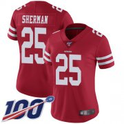 Wholesale Cheap Nike 49ers #25 Richard Sherman Red Team Color Women's Stitched NFL 100th Season Vapor Limited Jersey