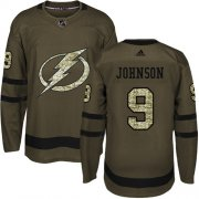 Wholesale Cheap Adidas Lightning #9 Tyler Johnson Green Salute to Service Stitched Youth NHL Jersey