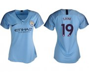 Wholesale Cheap Women's Manchester City #19 Sane Home Soccer Club Jersey