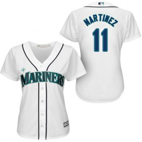 Wholesale Cheap Mariners #11 Edgar Martinez White Home Women\'s Stitched MLB Jersey