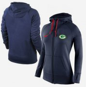 Wholesale Cheap Women's Nike Green Bay Packers Full-Zip Performance Hoodie Dark Blue