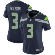 Wholesale Cheap Nike Seahawks #3 Russell Wilson Steel Blue Team Color Women's Stitched NFL Vapor Untouchable Limited Jersey
