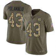 Wholesale Cheap Nike Steelers #43 Troy Polamalu Olive/Camo Men's Stitched NFL Limited 2017 Salute To Service Jersey