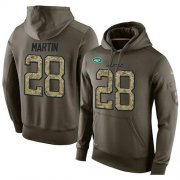 Wholesale Cheap NFL Men's Nike New York Jets #28 Curtis Martin Stitched Green Olive Salute To Service KO Performance Hoodie