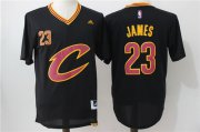 Wholesale Cheap Men's Cleveland Cavaliers #23 LeBron James Revolution 30 Swingman 2016 New Black Short-Sleeved Jersey