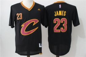 Wholesale Cheap Men\'s Cleveland Cavaliers #23 LeBron James Revolution 30 Swingman 2016 New Black Short-Sleeved Jersey