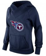 Wholesale Cheap Women's Tennessee Titans Logo Pullover Hoodie Navy Blue-1