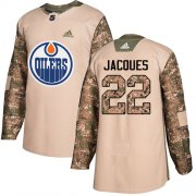 Wholesale Cheap Adidas Oilers #22 Jean-Francois Jacques Camo Authentic 2017 Veterans Day Stitched NHL Jersey