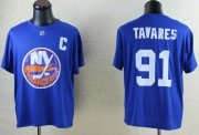 Wholesale Cheap NHL New York Islanders #91 John Tavares Blue T-Shirt