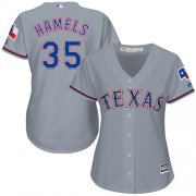 Wholesale Cheap Rangers #35 Cole Hamels Grey Road Women's Stitched MLB Jersey