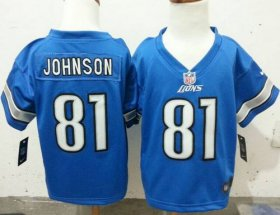 Wholesale Cheap Toddler Nike Lions #81 Calvin Johnson Blue Team Color Stitched NFL Elite Jersey
