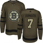 Wholesale Cheap Adidas Bruins #7 Phil Esposito Green Salute to Service Stitched NHL Jersey