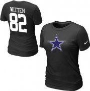 Wholesale Cheap Women's Nike Dallas Cowboys #82 Jason Witten Name & Number T-Shirt Black
