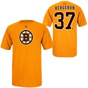Wholesale Cheap Boston Bruins #37 Patrice Bergeron Reebok Name and Number Player T-Shirt Gold