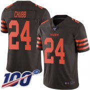 Wholesale Cheap Nike Browns #24 Nick Chubb Brown Men's Stitched NFL Limited Rush 100th Season Jersey