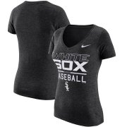 Wholesale Cheap Chicago White Sox Nike Women's Practice 1.7 Tri-Blend V-Neck T-Shirt Heathered Black