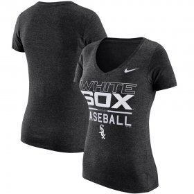 Wholesale Cheap Chicago White Sox Nike Women\'s Practice 1.7 Tri-Blend V-Neck T-Shirt Heathered Black