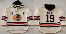Wholesale Blackhawks #19 Jonathan Toews Cream Heavyweight Pullover Hoodie Stitched NHL Jersey