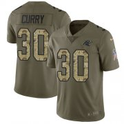 Wholesale Cheap Nike Panthers #30 Stephen Curry Olive/Camo Men's Stitched NFL Limited 2017 Salute To Service Jersey