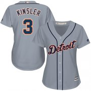 Wholesale Cheap Tigers #3 Ian Kinsler Grey Road Women's Stitched MLB Jersey