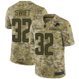 Wholesale Cheap Nike Lions #32 D\'Andre Swift Camo Youth Stitched NFL Limited 2018 Salute To Service Jersey