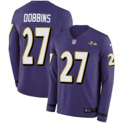 Wholesale Cheap Nike Ravens #27 J.K. Dobbins Purple Team Color Youth Stitched NFL Limited Therma Long Sleeve Jersey