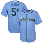 Wholesale Cheap Seattle Mariners #51 Ichiro Suzuki Majestic Official Cool Base Player Jersey Blue