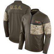Wholesale Cheap Men's Chicago Bears Nike Olive Salute to Service Sideline Hybrid Half-Zip Pullover Jacket
