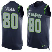Wholesale Cheap Nike Seahawks #80 Steve Largent Steel Blue Team Color Men's Stitched NFL Limited Tank Top Jersey