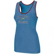 Wholesale Cheap Women's Nike Los Angeles Chargers Heart & Soul Tri-Blend Racerback Stretch Tank Top Light Blue