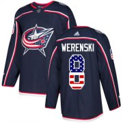 Wholesale Cheap Adidas Blue Jackets #8 Zach Werenski Navy Blue Home Authentic USA Flag Stitched Youth NHL Jersey